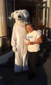 The Polar Bear and Monica prepare to leaflet outside the Mercure Hotel